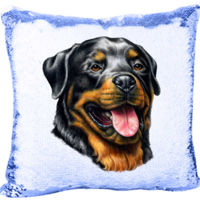 Rottweiler Dog - Mermaid Sequin Pillow Thumbnail