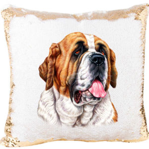 Mermaid Sequin Pillow with The San Bernardo Dog Thumbnail