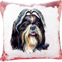 Shih Tzu Dog image on the Mermaid Sequin Pillow Thumbnail