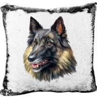 Belgian Tervuren Mermaid Sequin Pillow  Thumbnail