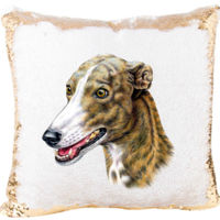 Greyhounds Dog Image On Mermaid Sequin Pillow Thumbnail