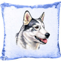 Mermaid sequin Pillow with Siberian Huskies Thumbnail