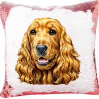 Cocker Spaniel Dog on Mermaid Sequin Pillow Thumbnail