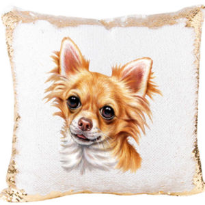 Mermaid Sequin Pillow with Chihuahuas Image Thumbnail