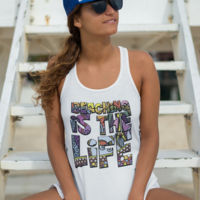 Ladies Flowy Racer back Tank  - Beaching is the Life Thumbnail