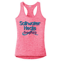 Ladies Electric Heather Racerback Tank - Saltwater Heals Everything Thumbnail